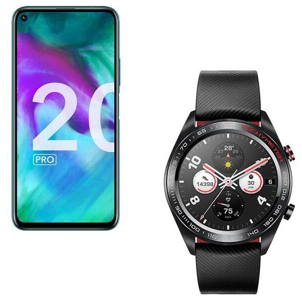 """Smartphone 6.26"""" Honor 20 Pro - Double SIM, RAM 8 Go, 256 Go, Phantom Blue + Montre connectée Honor Watch Magic Black (Via ODR 100€)"""