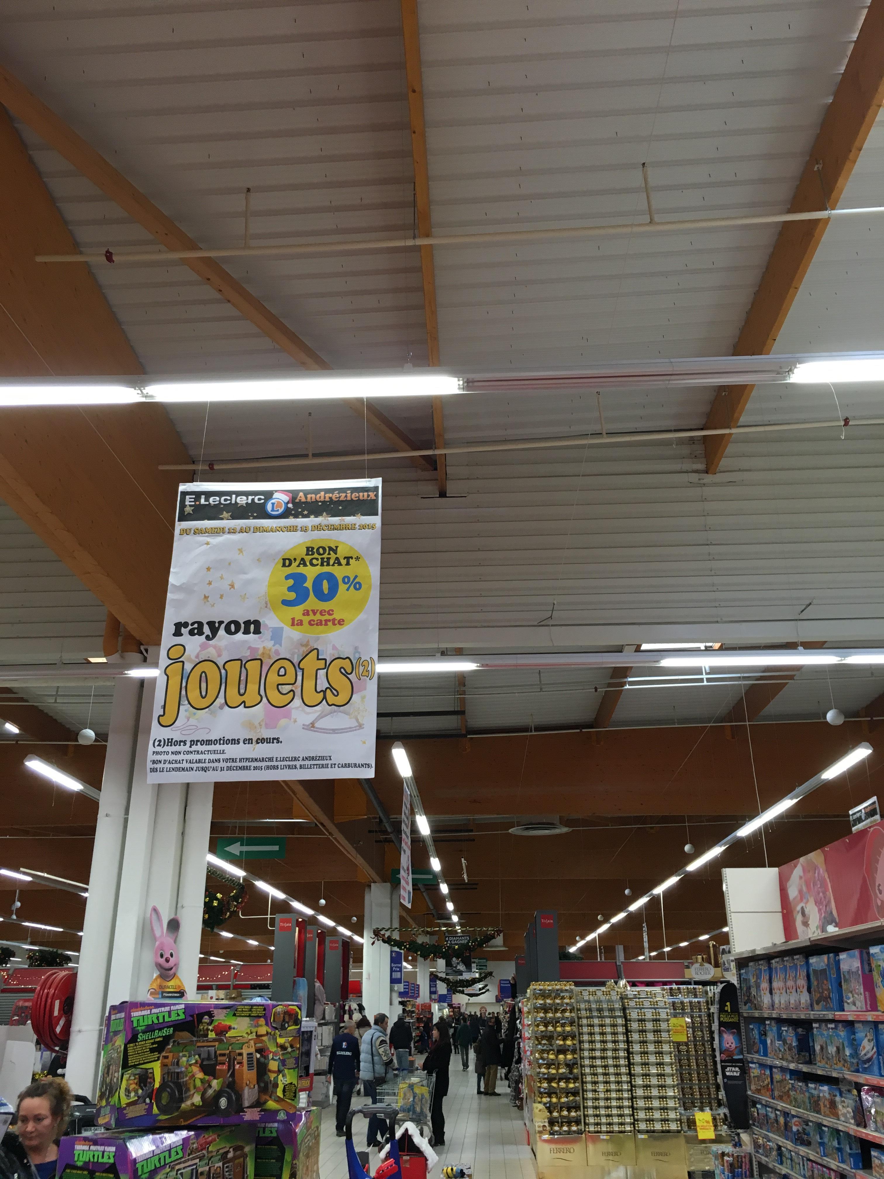 30% offerts en bon d'achat sur tous le rayon jouet