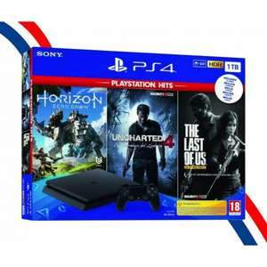 Pack Console PS4 Slim (1 To) + Horizon Zero Dawn + The Last of Us + Uncharted 4