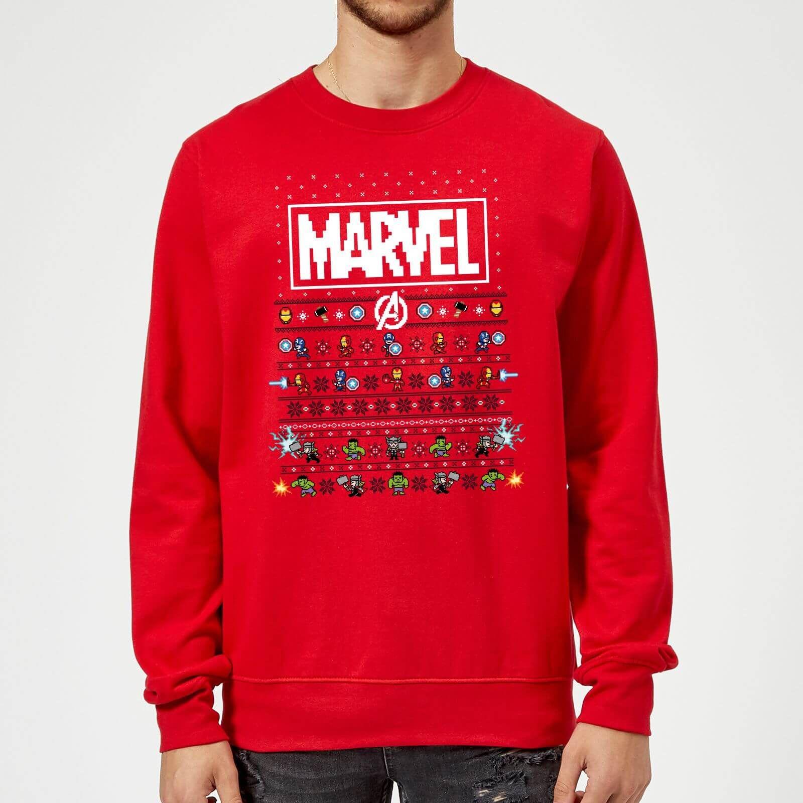 Sweats et pulls Marvel de Noël en promotion - Ex : Pull de Noël Homme Marvel Avengers Pixel Art - Rouge