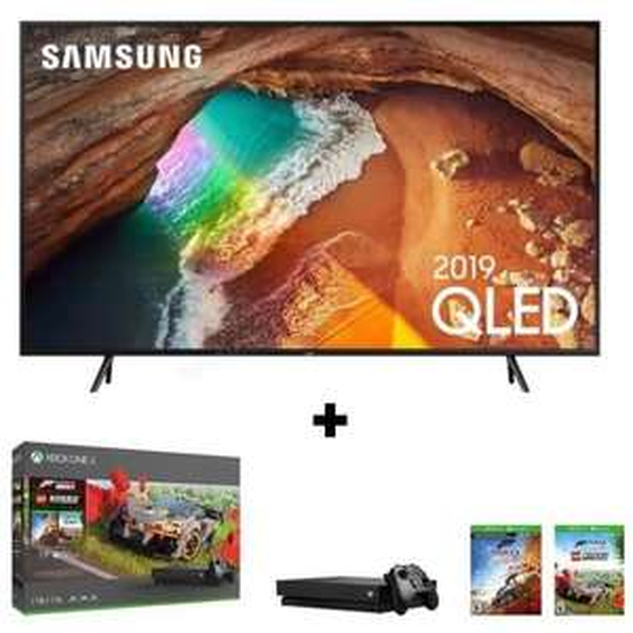 "TV 65"" Samsung QE65Q60R (QLED, 4K UHD, Dalle 100 Hz, HDR 10+, Smart TV) + Console Xbox One X 1To + Forza Horizon 4 + DLC LEGO (Via ODR 200€)"