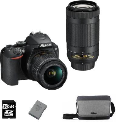 Pack appareil photo numérique compact Nikon D3500 (24.2 Mpix, CMOS) + objectifs 18-55 + 70-300 mm VR + carte SD (16 Go) + batterie + sacoche