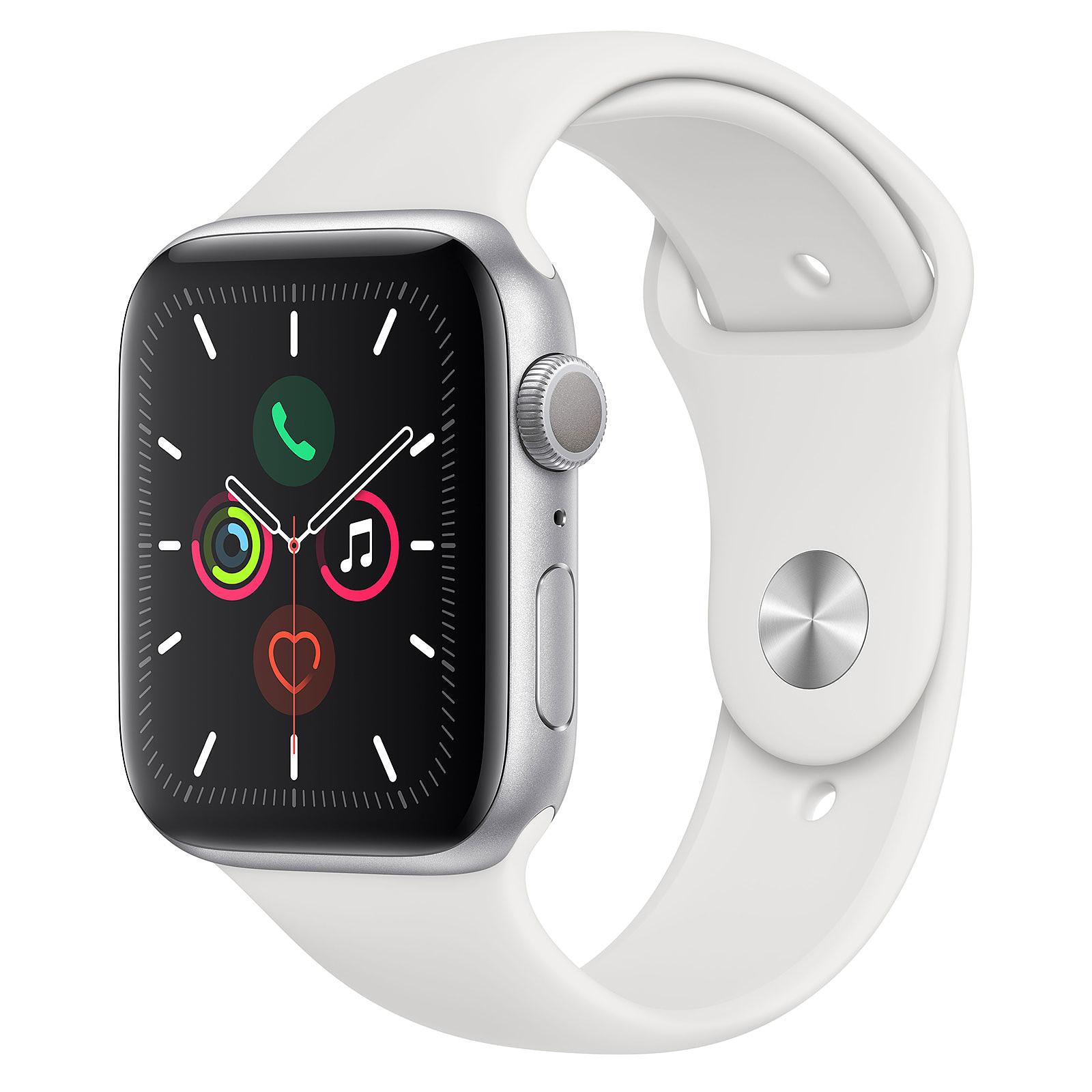 Montre connectée Apple Watch Series 5 (GPS) 44 mm - Boitier Aluminium Argent avec Bracelet Sport Blanc (381.99€ avec CM19 + 38.50€ en SP)