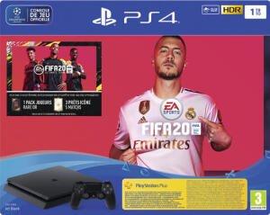 Console Sony PS4 Slim 1 To + FIFA 20 + Abonnement PlayStation Plus de 14 Jours (Frontaliers Suisse)