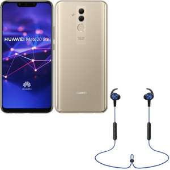 "Smartphone 6.3"" Huawei Mate 20 Lite - 4 Go RAM, 64 Go, Or + Écouteurs sans fil Bluetooth AM61 Sport Lite"