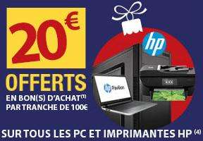 30€ offerts en 2,3 ou 4 bons d'achats par tranche de 100€ sur les PC et Imprimantes HP