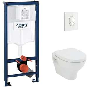 Pack WC Grohé Rapid SL Mural + Cuvette POP2 + Plaque Chromée Brillante