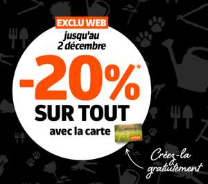 20% remboursés sur la carte fidélité sur tout le site & en magasin (Hors exceptions)