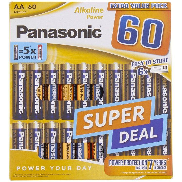 Lot de 60 piles alcalines Panasonic AA/AAA