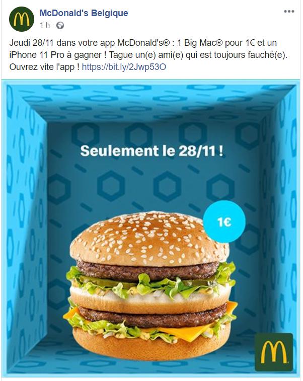 Hamburger Big Mac pour 1€ - via l'application (frontaliers Belgique)