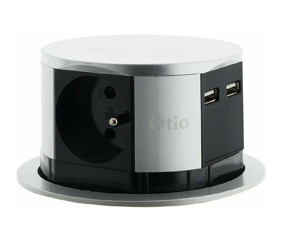 Bloc multiprise encastrable Otio Compact - 3 Prises 16A 2P+T et 2X USB