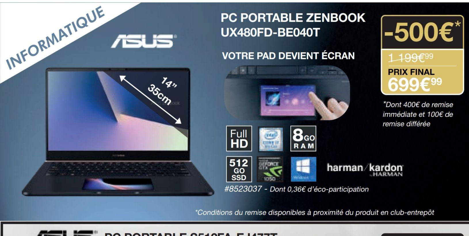 """[Carte Costco] PC Portable 14"""" Asus Zenbook UX480FD-BE040T (via ODR de 100€) - Villebon-sur-Yvette (91)"""