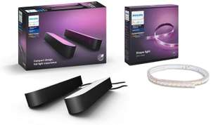 Pack 2 veilleuses Philips Hue Play White & Color Ambiance + Light strip 2m