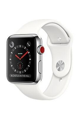 Montre connectée Apple Watch 3 (Wi-Fi + Cellular) - 42 mm, Acier / Bracelet Sport Blanc