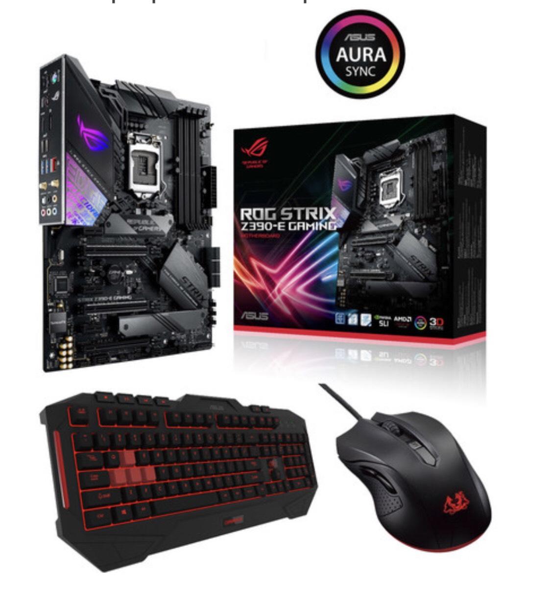 Carte mère Asus ROG Strix Z390-E Gaming + Clavier Asus Cerberus (AZERTY) + Souris Cerberus Mouse