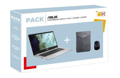 "Pack PC portable 14"" Asus Chromebook C423NA (Celeron N3350, 8 Go de RAM, 64 Go en SSD, Chrome OS) + souris + sacoche"