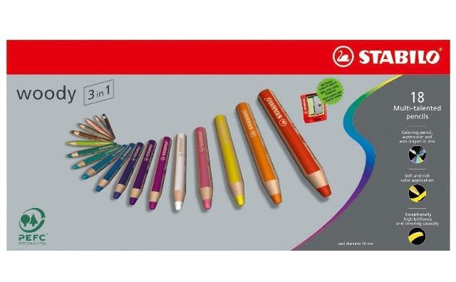 Crayons de coloriage Woody Dtabilo 3-en-1 - 18 crayons + Taille-crayons