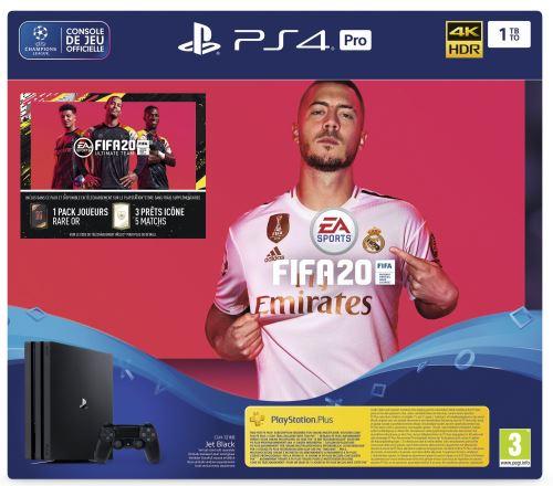 Pack console Sony PS4 Pro (1 To) + FIFA 20 + 14 jours en PS Plus (+ 30€ sur le compte-fidélité pour les Adhérents)