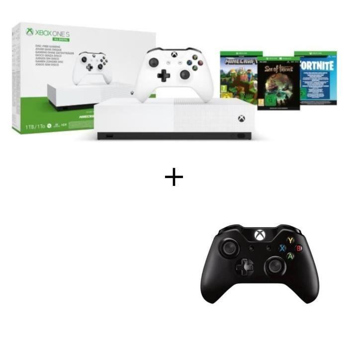Xbox One S All Digital + 2eme Manette Noire + 3 jeux dématérialisés : Fortnite, Sea of Thieves et Minecraft