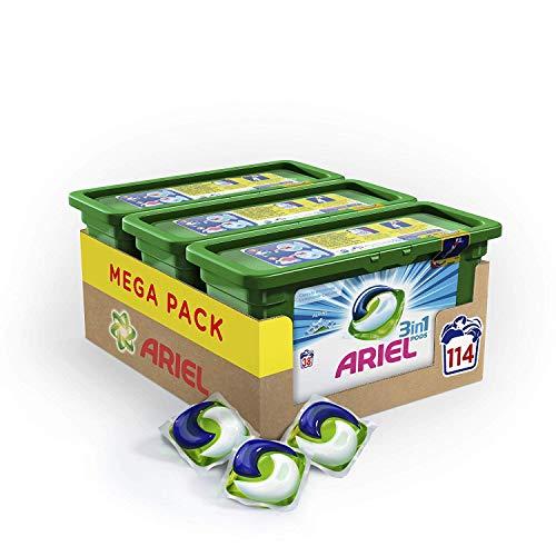 Pack de 3 boites de 38 capsules Ariel 3 en 1 Pods Ecodoses Alpine