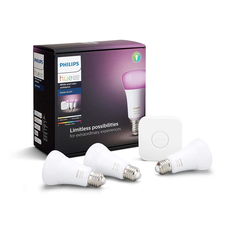 Kit de démarrage Philips Hue - 3 Ampoules White & Color E27 + Pont de Connexion (Frais de port inclus)