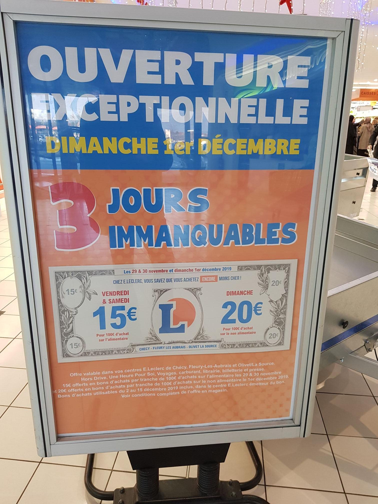 15€ offerts en bon d'achat dès 100€ et 20€ dès 100€- olivet (45)
