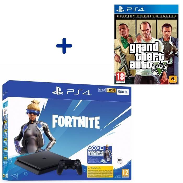 Pack Console Sony PS4 Slim 500 Go Noire + Grand Theft Auto V Edition Premium + Voucher Fortnite