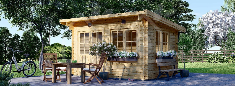 Abri de jardin à toit plat Lille (34 mm), 4x3 m, 12 m² (chaletdejardin.fr)