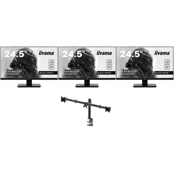 """Pack de 3 écrans Iiyama 24,5""""G2530HSU-B1 + Support triple écrans DS1003C-B1"""