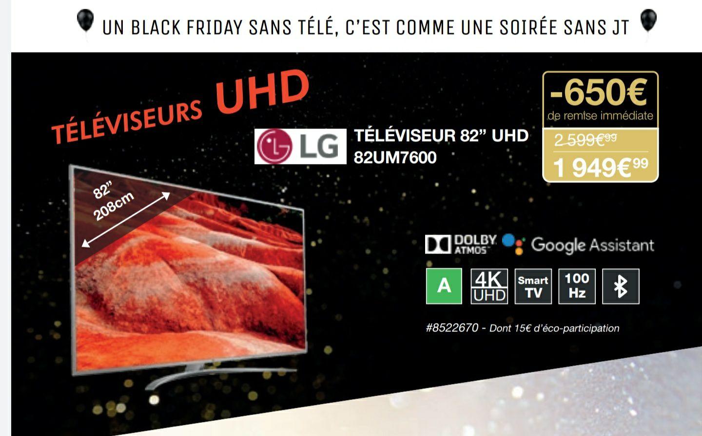 """[Carte Costco] TV 82"""" LG 82UM7600 (2019) - 4K HDR, Smart TV - Villebon-Sur-Yvette (91)"""