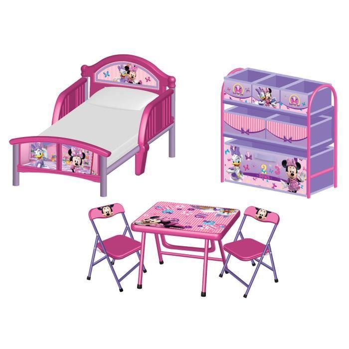 Pack Chambre Minnie : Lit, meuble de rangement, table avec 2 chaises