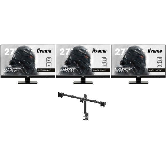 """Pack de 3 écrans Iiyama 27"""" G2730HSU-B1 + Support triple écrans DS1003C-B1"""