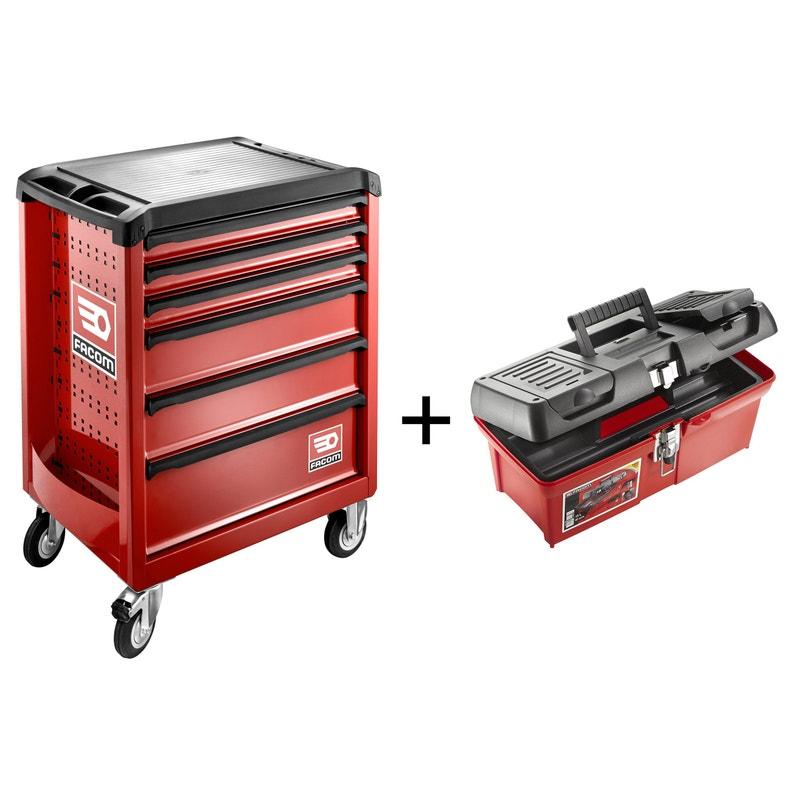 Servante d'atelier Facom ROLL.6M3PG métal, 6 tiroirs 80 cm + caisse à outils (remboursement via ODR)