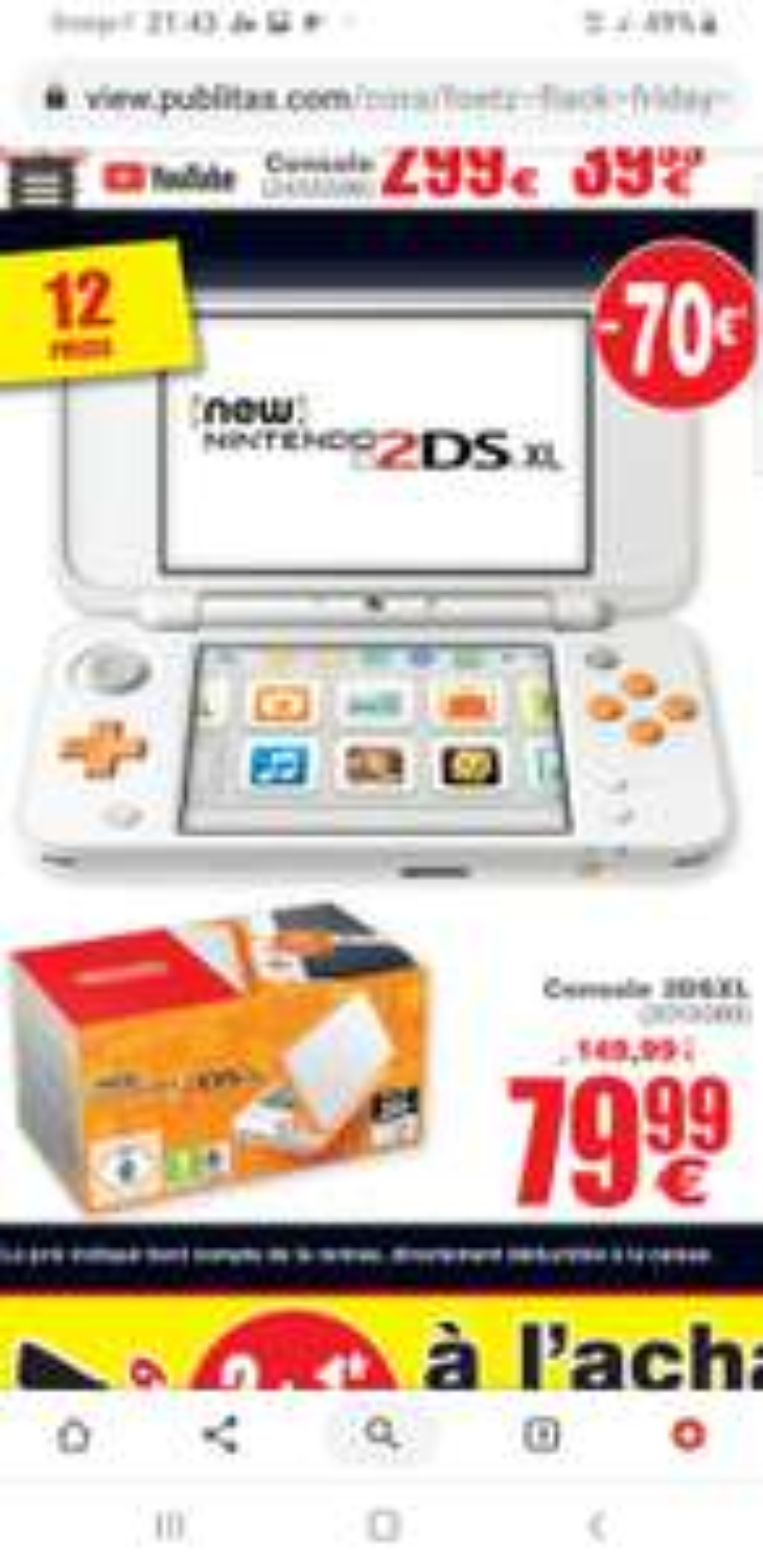 Console Nintendo 2DS XL ( Cora Foetz Luxembourg)