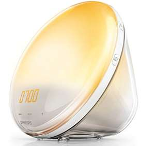 Radio réveil lumineux avec fonction veilleuse et guide de nuit et port USB Philips Eveil Lumière HF3531/01