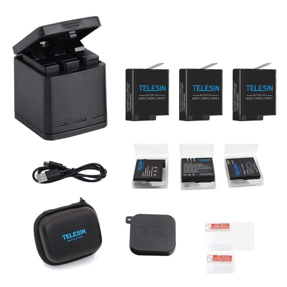 Kit Batteries + Chargeur compatibles caméra sportive GoPro Hero 5/6 - 3 batteries (Vendeur tiers)