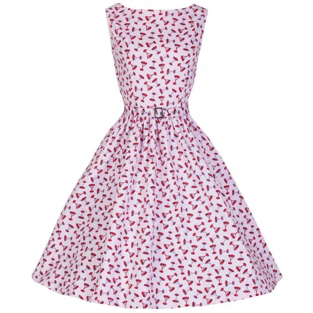 Jusqu' à 50% sur des robes vintage - Ex : Robe Vintage 1950's Rock N Roll Cocktail Glass Print Swing