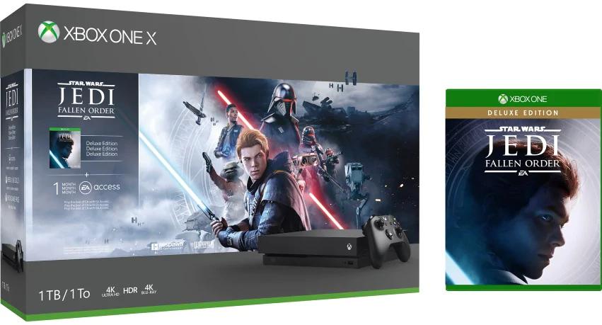Pack Xbox One X 1 To + Star Wars Jedi: Fallen Order + Pack de précision Gioteck Noir pour Xbox One (+20€ de CC pour les adhérents)