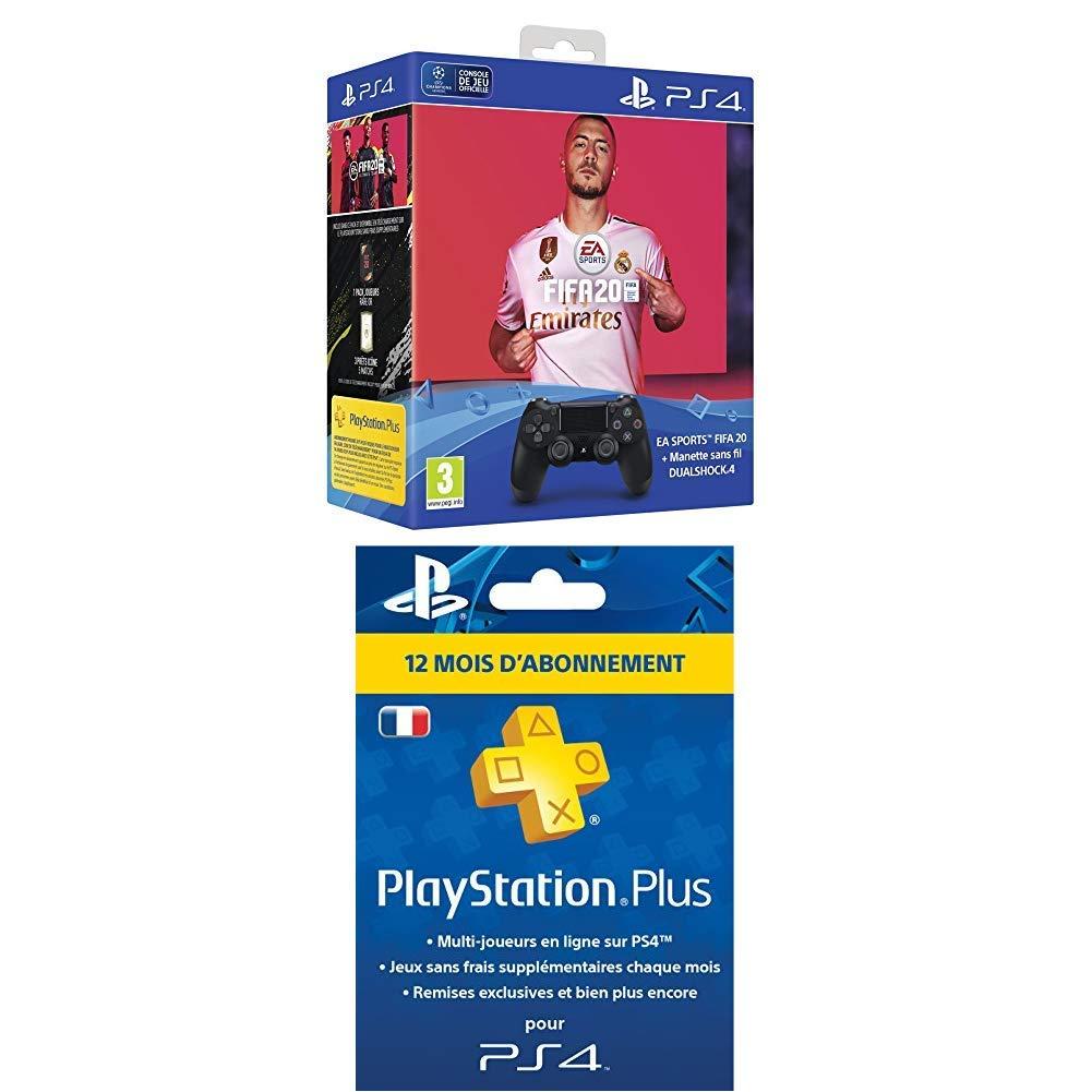 Pack manette Sony DualShock 4 + FIFA 20 + abonnement de 12 mois de PS Plus