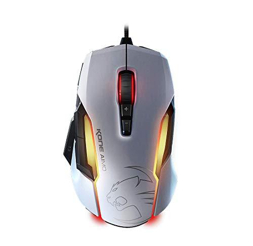 Souris filaire Roccat Kone Aimo - capteur Owl-Eye, 12 000 dpi, 10 boutons programmables, éclairage RGBA, blanc