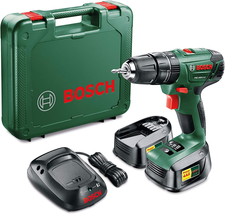 Perceuse-visseuse à percussion Bosch PSB 1800 LI-2 18 V + 2 batteries Lithium-Ion 1,5 Ah