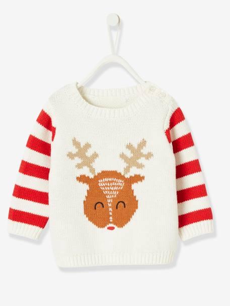 Pull de Noël bébé garçon motif renne - ivoire