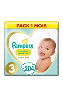 Pack 1 Mois Couches Pampers Premium Protection - Taille 3, 204 Couches, 6-10kg