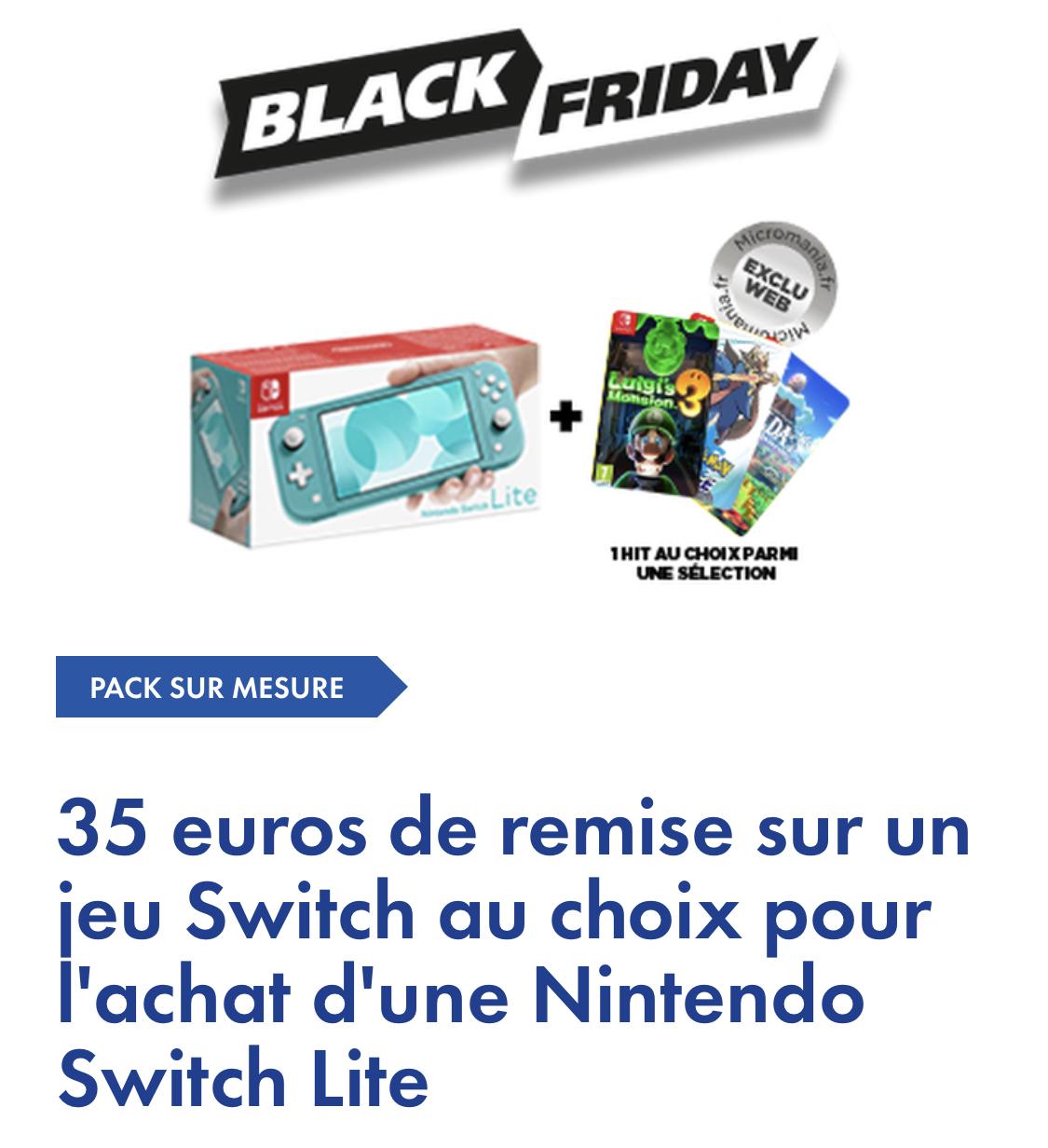 35€ de réduction sur un jeu vidéo Switch pour l'achat d'une console Nintendo Switch Lite