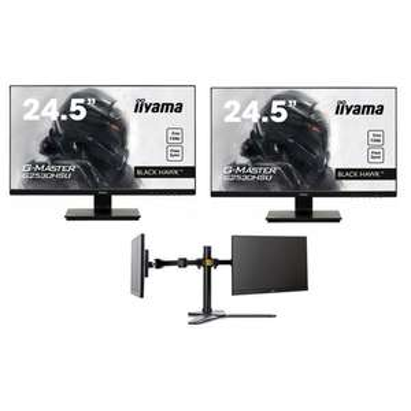 """Pack de 2 Écrans Iiyama LED 24,5"""" G2530HSU-B1 + support DS1002D-B1"""