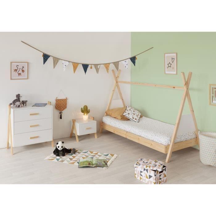 Chambre complète enfant Amarok : lit + chevet + commode - Pin massif et MDF