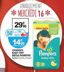 Mega Pack de 104 Couches Pampers (Taille 3) - Plusieurs tailles dispo (via 14.95€ carte Waaoh)