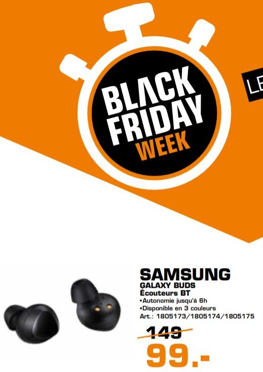 Écouteurs sans fil Samsung Galaxy Buds - Noir (Frontaliers Luxembourg)