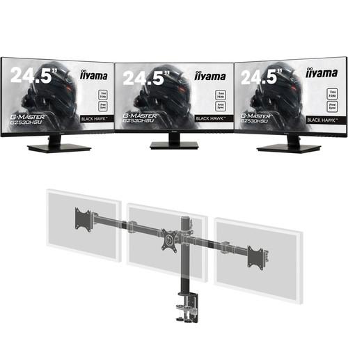 "Pack 3 écrans LED 24.5"" Iiyama G-Master G2530HSU-B1 (Full HD, 1ms) + Support Iiyama"