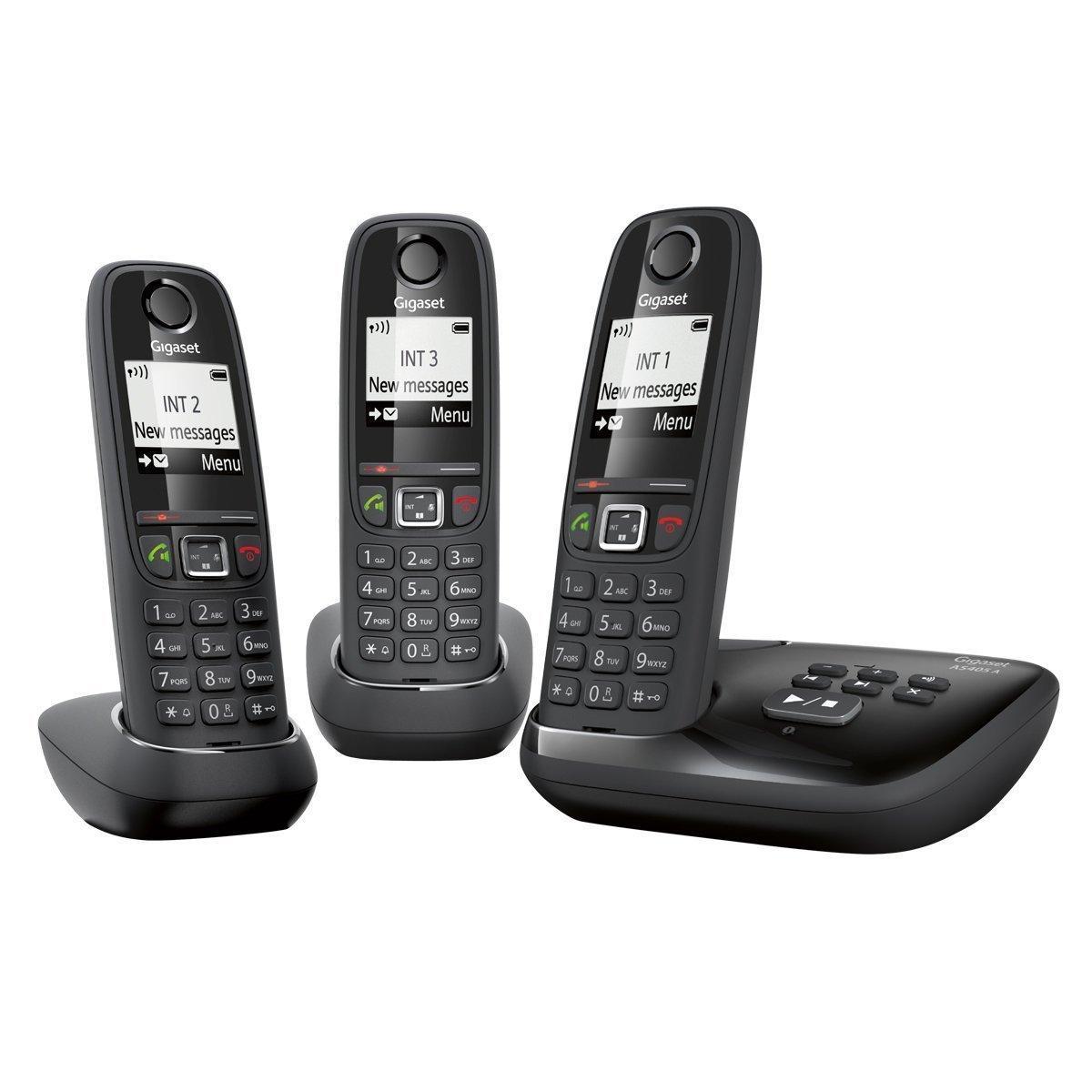 [Expiré]Trio téléphone sans fil Gigaset AS405A DECT/GAP mains-libres avec répondeur - Noir (via ODR 15€)